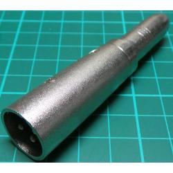 6.35mm Stereo Socket to 3 Pin XLR Plug, Adaptor