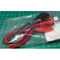 Test Leads, Red/Black, 4mm Banana to Croc Clip, 80cm
